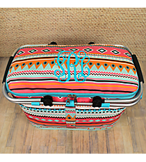 Aztec Print with Aqua Trim Collapsible Insulated Market Basket with Lid #AQM658-AQUA