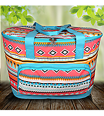 Aztec Print with Aqua Trim Cooler Tote with Lid #AQM89-AQUA