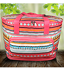 Aztec Print with Pink Trim Cooler Tote with Lid #AQM89-PINK
