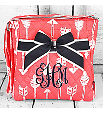 Straight & Arrow Coral Quilted Crossbody with Navy Trim #ARB1717-CORAL