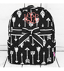 Straight & Arrow Black Quilted Backpack #ARB2828-BLACK