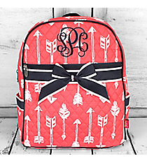 Straight & Arrow Coral Quilted Backpack with Navy Trim #ARB2828-CORAL