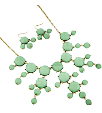 "26"" Goldtone and Mint Green Bubble Necklace and Earring Set #AS4560-GE2"