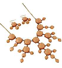 "26"" Goldtone and Peach Bubble Necklace and Earring Set #AS4560-GH"