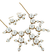 "26"" Goldtone and Pearl Bubble Necklace and Earring Set #AS4560-GPL"