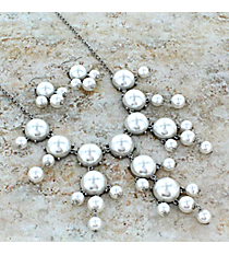 """26"""" Silvertone and Pearl Bubble Necklace and Earring Set #AS4560-RHPL"""