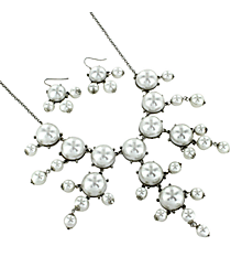 "26"" Silvertone and Pearl Bubble Necklace and Earring Set #AS4560-RHPL"