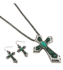 "18"" Burnished Silvertone and Fashion Print Cross Pendant Necklace and Earring Set #AS4618-SBTQ"