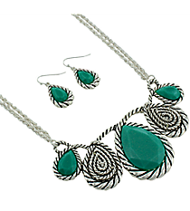 "18"" Shimmering Turquoise Faceted Beaded Silvertone Rope Necklace and Earring Set #AS4660-ASTQ"