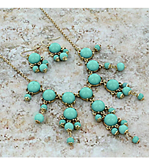 """17"""" Goldtone and Mint Green Bubble Necklace and Earring Set #AS4704-GE2"""