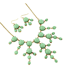 "17"" Goldtone and Mint Green Bubble Necklace and Earring Set #AS4704-GE2"