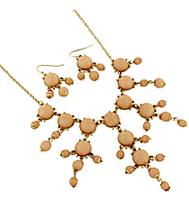 "17"" Goldtone and Peach Bubble Necklace and Earring Set #AS4704-GH"