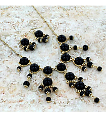 """17"""" Goldtone and Black Bubble Necklace and Earring Set #AS4704-GJ"""