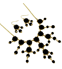 "17"" Goldtone and Black Bubble Necklace and Earring Set #AS4704-GJ"