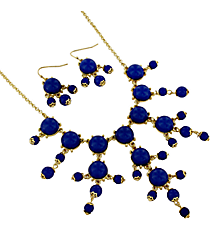 "17"" Goldtone and Deep Blue Bubble Necklace and Earring Set #AS4704-GM"