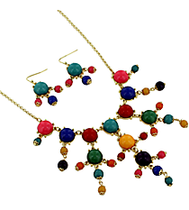 "17"" Goldtone and Multicolor Bubble Necklace and Earring Set #AS4704-GMT"