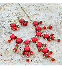 """17"""" Goldtone and Pink Bubble Necklace and Earring Set #AS4704-GP"""