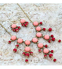 "17"" Goldtone and Pink & Fuchsia Bubble Necklace and Earring Set #AS4704-GP2"