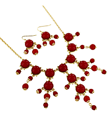 "17"" Goldtone and Red Bubble Necklace and Earring Set #AS4704-GR"