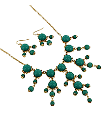"17"" Goldtone and Turquoise Bubble Necklace and Earring Set #AS4704-GTQ"