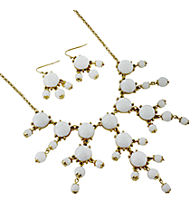 """17"""" Goldtone and White Bubble Necklace and Earring Set #AS4704-GW"""