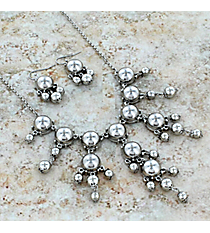 """17"""" Silvertone Bubble Necklace and Earring Set #AS4704-RH"""