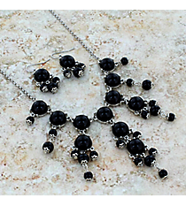"""17"""" Silvertone and Black Bubble Necklace and Earring Set #AS4704-RHJ"""