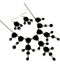 "17"" Silvertone and Black Bubble Necklace and Earring Set #AS4704-RHJ"