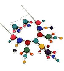 "17"" Silvertone and Multicolor Bubble Necklace and Earring Set #AS4704-RHMT"