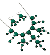 "17"" Silvertone and Turquoise Bubble Necklace and Earring Set #AS4704-RHTQ"