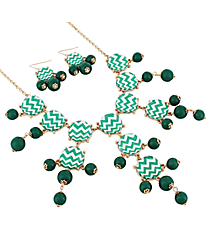 "26"" Green and White Chevron Bubble Necklace and Earring Set #AS4770-GE"