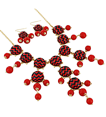 "26"" Red and Black Chevron Bubble Necklace and Earring Set #AS4770-GRJ"