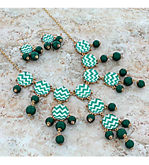 """26"""" Green and White Chevron Bubble Necklace and Earring Set #AS4770-GE"""