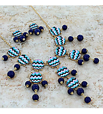 """26"""" Multi Chevron Bubble Necklace and Earring Set #AS4770-GM"""