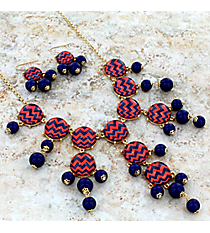 """26"""" Blue and Orange Chevron Bubble Necklace and Earring Set #AS4770-GMO"""