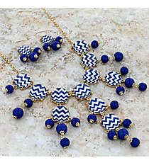 """26"""" Blue and White Chevron Bubble Necklace and Earring Set #AS4770-GMW"""