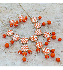 """26"""" Orange and White Chevron Bubble Necklace and Earring Set #AS4770-GOW"""
