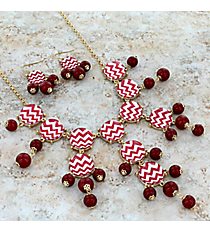 "26"" Crimson and White Chevron Bubble Necklace and Earring Set #AS4770-GRW2"