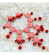 """26"""" Red and White Chevron Bubble Necklace and Earring Set #AS4770-GRW"""
