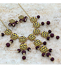 "26"" Purple and Yellow Chevron Bubble Necklace and Earring Set #AS4770-GYA"