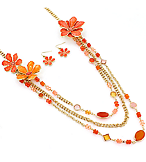 """30"""" Goldtone Orange Beaded Flower Necklace and Earring Set #AS4947-GO"""