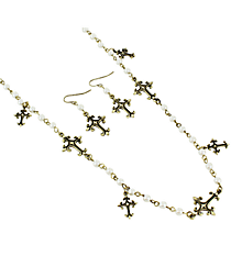 """36"""" Pearl and Burnished Brass Cross Charm Necklace and Earrings Set #AS4952-BBPL"""