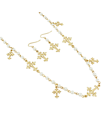 """36"""" Pearl and Goldtone Cross Charm Necklace and Earrings Set #AS4952-GPL"""