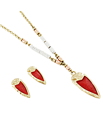 """27"""" Goldtone and Iridescent Red Gem Pendant Necklace and Earring Set #AS4960-WGR"""