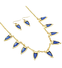 """18"""" Goldtone and Iridescent Blue Gem Charm Necklace and Earring Set #AS4962-WGM"""