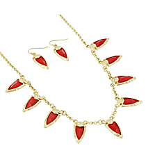 """18"""" Goldtone and Iridescent Red Gem Charm Necklace and Earring Set #AS4962-WGR"""