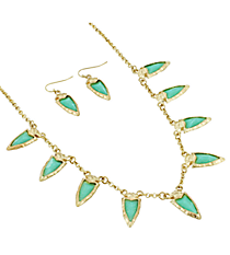 """18"""" Goldtone and Iridescent Turquoise Gem Charm Necklace and Earring Set #AS4962-WGTQ"""