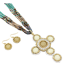 """18"""" Multi Color Iridescent Cross Necklace and Earring Set #AS4964-GMT1"""