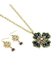 """17"""" Blue and Green Beaded Goldtone Cross Necklace and Earring Set #AS4969-AGE"""