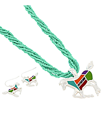 "18"" Turquoise Multi-Strand Mosaic Horse Necklace and Earring Set #AS4990-SMT1"